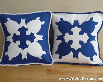 Hawaiian Quilt Pillow Covers - blue turtle
