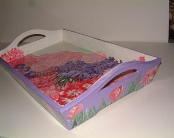 Serving Tray with Painted Floral Designs Including Roses, Mums, Carnations, and Violets
