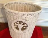Vintage White Wicker Waste Basket