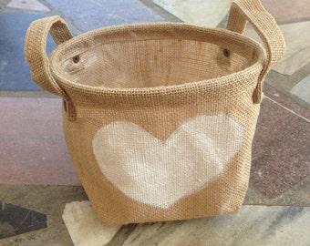 FINAL SALE Heart Burlap Bag Great for Weddings and Home Decor