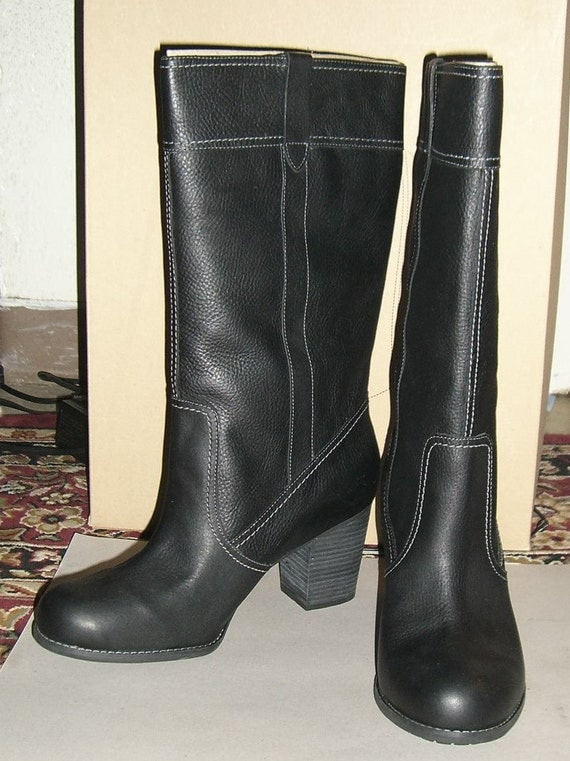 timberlands size 11 w womens black leather boots