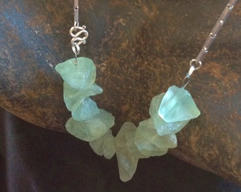 Sea Green Fluorite Industrial Chic Necklace