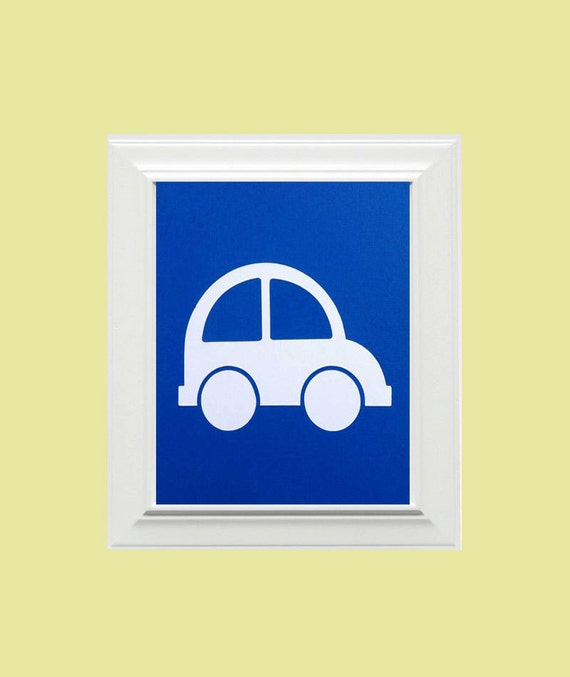 Custom Personalized Car Picture, Children's Wall Art, Kid's Wall Art, Nursery Wall Art, Car Wall Art-Blue, White