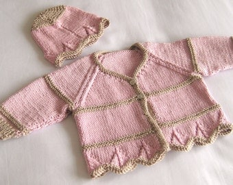 Cotton baby jacket / cardigan / sweater and hat set in pink and biscuit.  Size: Newborn 7.5 lb (3.4 kg) (44cm - 50cm)