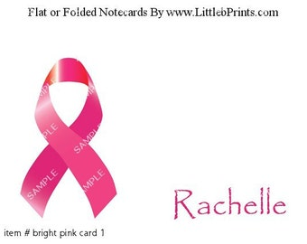 Cancer Awareness Ribbon Pink Note Cards Set of 10 personalized flat or folded cards