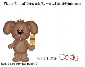 Puppy Dog with Popsicle Note Cards Set of 10 personalized flat or folded cards