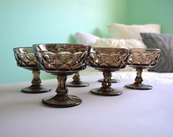 Set of Crystal Stemmed Bowls in Hourglass Pattern