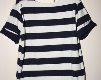 SALE 75percent  Nautical Blue & White Striped Top