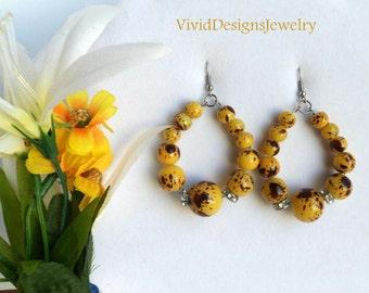 Yellow Teardrop Hoop Statement Earrings - Yellow - Yellow Beaded Statement Earrings