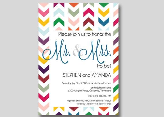 Mr And Mrs Wedding Invitation Wording: Chevron Mr. & Mrs. Couples Wedding Shower Invitation Custom