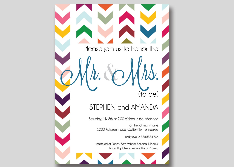 Chevron mr mrs couples wedding shower invitation custom for Wedding couples shower invitations