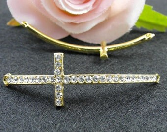 5pcs 15x54mm Gold Plated Rhinestone Sideways Cross Charms Connector
