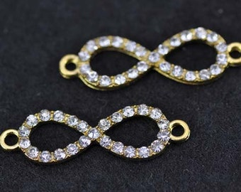 10pcs 10x31mm Gold Plated Rhinestone Infinity Charms Connectors - infinity symbol Charms Pendant