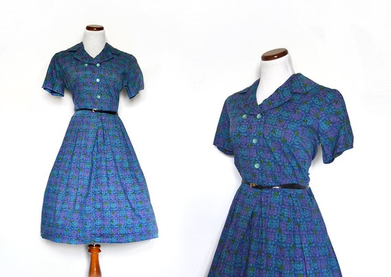 Blue Dress / 1950s Dress / Plus Size Dress /  XL Dress / Print Dress / Women Clothing Day Dresses / Vintage Clothing Dresses