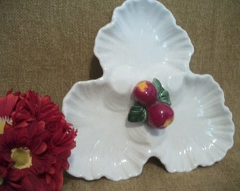 California Pottery, Hand Painted, Decorative Dish, Red Apple, Ceramic Plate, Mode  AP511, Sectional Dish, Divided Plate, Three Leaf Plate
