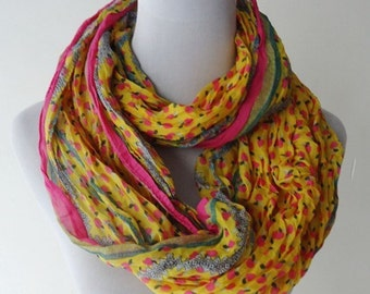 crinkled voile infinity scarf floral printed women spring scarf