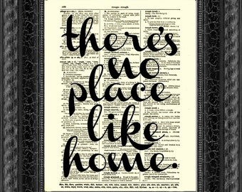 There's No Place Like Home Wizard of Oz Quote, Antique Dictionary Print, Wall Decor, Art Print, Housewarming Gift