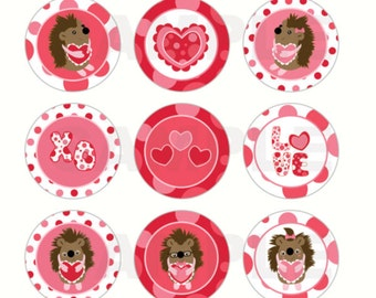 INSTANT DOWNLOAD - Hedgehog Valentine's Day Bottle Cap Images - 4x6 Digital Sheet - 1 Inch Circles for Bottlecaps, Hair Bow Centers, & More