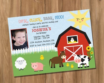 Farm Birthday Party Invitation with Photo (Digital - DIY)