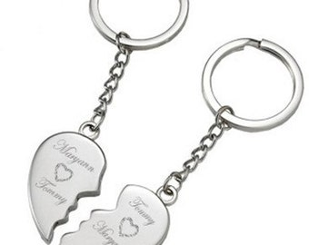 Magnetic Broken Heart Keychain - Personalize if FREE