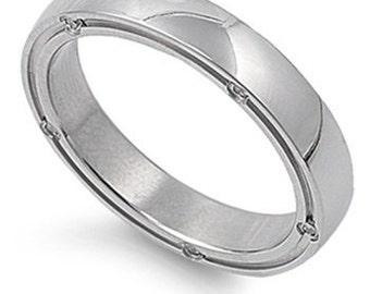 Personalized Stainless Steel Band Ring with CZ - Free Engraving