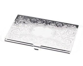 Personalized Floral Design High Quality Business Card Holder - Free Engraving