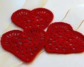 Crochet Hearts Appliques Set of 3 Valentines Day Ornament home decorating - GetTangled