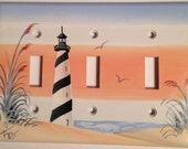 Cape Hatteras Lighthouse Triple Toggle Lightswitch cover