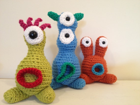 Three Monster Family - stuffed amigurumi toys