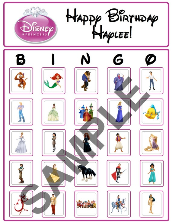 Bingo Disney Princess Party Game