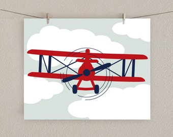 Baby Boy Nursery Print - Airplane Art - Red & Navy blue