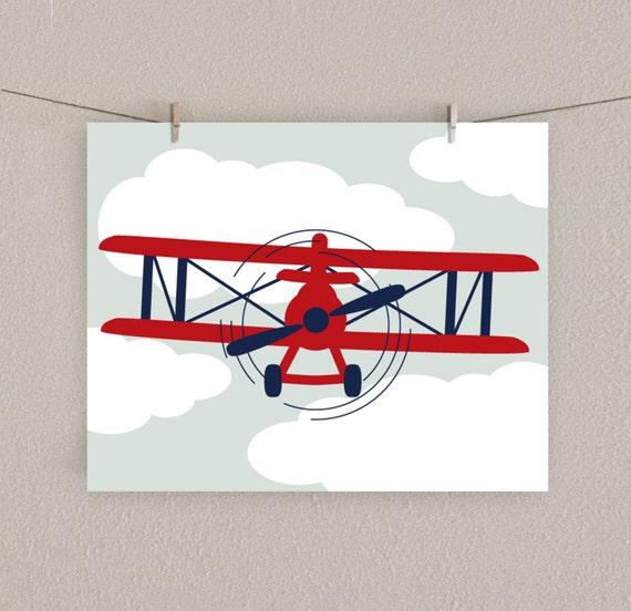 Items Similar To Baby Boy Nursery Print Airplane Art