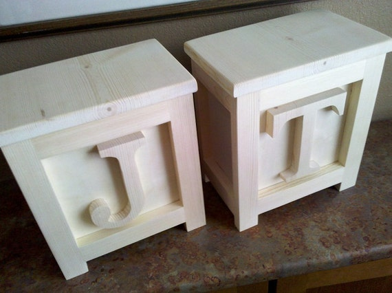 Two Wooden Block Step Stools Or Chairs Great By