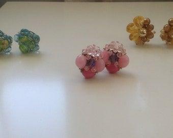3 pairs West Germany Vintage Bead Cluster Clip-on Earrings