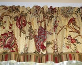 Richloom Darjeeling Cardinal Red Gold Toile Valance 17x 58 Medium Weight Curtain Window Treatment