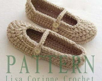 Womens House Shoes, Crochet Slippers PATTERN, Crochet Slipper PATTERN, Mary Janes Slippers