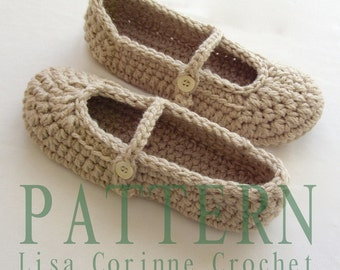 Womens House Slippers, Crochet Slippers PATTERN, Crochet Slipper PATTERN, Mary Janes Slippers