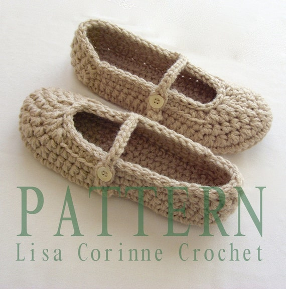Womens House Shoes Crochet Slippers PATTERN Crochet Slipper