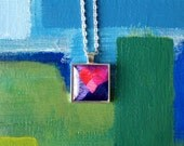 Heart Pink Square Pendant