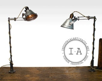 PAIR Vintage Industrial Articulating Task Reading Deas Lamps With Brass Hardware Steampunk Decor