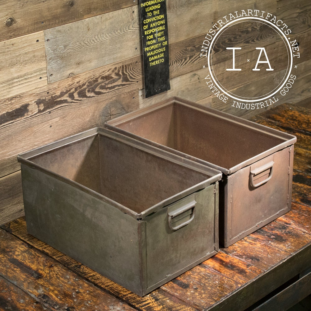 metal storage bins vintage industrial metal storage bins boxes organizers totes 11076