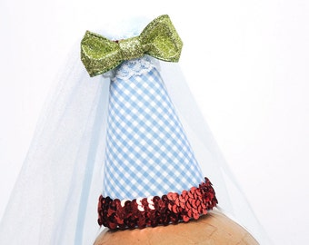 Dorothy Hat Wizard of Oz Hat Blue Gingham with Red Sequin Mini Costume Party Hat