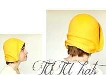 Yellow felt cloche vintage style handmade hat, gatsby style women hat