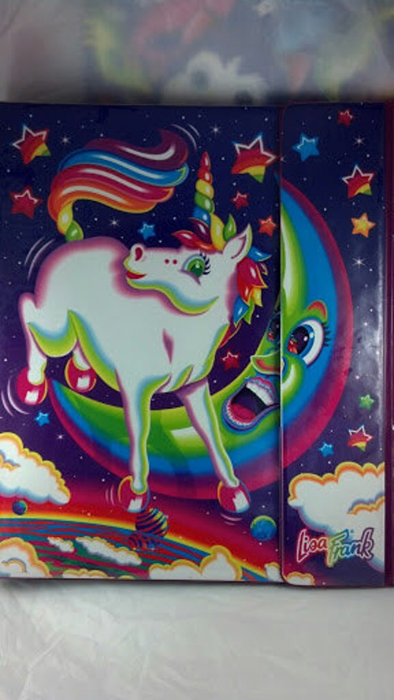 Vintage Lisa Frank Large Rare Trifold Binder (trapper keeper) Sought after Markie the Unicorn over moon Design