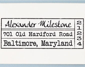Custom Personalized Return Address Mounted Rubber Stamp Old Vintage Design - AS06