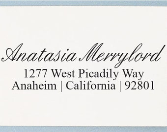 Custom Calligraphy Return Address Stamp - Personalized Address Stamp - Housewarming, Save the Date, Wedding, Gift - AS16