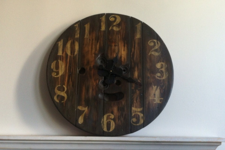 Upcycled Spool Clock Clock Large Clock Wood Clock Rustic