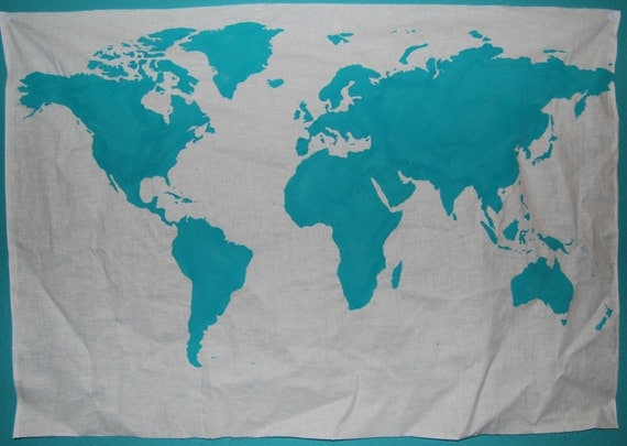 World Map Wall Tapestry in Teal by BumsteerStudios on Etsy