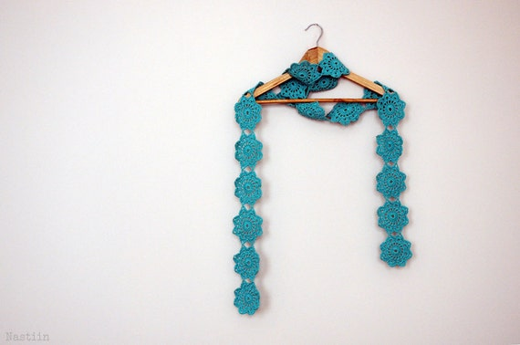 Crocheted Flower Scarf by Nastiin