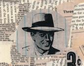 "Three.  Original 4x4.5"" Collage on Heavy Watercolor Paper"